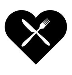 Cutlery and heart vector