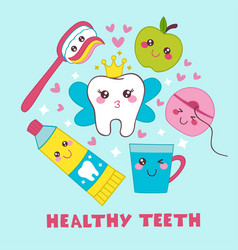 dental poster with tooth fairy vector image
