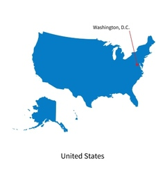 detailed map united states and capital city vector image