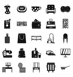 Domesticity icons set simple style vector