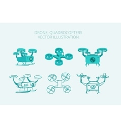 Drone quadrocopters different types isometrics vector image