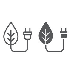 eco power line and glyph icon ecology and energy vector image