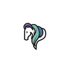 Elegant equine horse head mane hair mascot logo vector