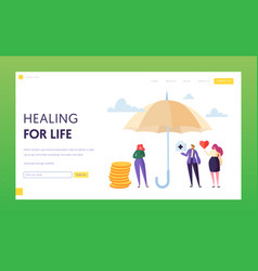 family medical life insurance landing page concept vector image