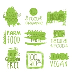 Farm vegan food green set of label vector