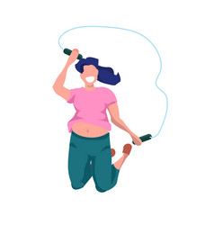 Fat obese woman doing exercises with jumping rope vector
