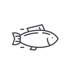 fishtuna line icon sign on vector image
