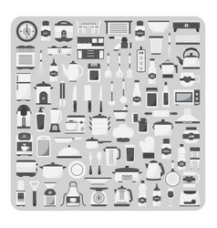 Flat icons modern kitchen room set vector