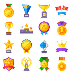 flat rewards icons gold cups medals and vector image