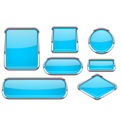 glass buttons with chrome frame set of blue shiny vector image