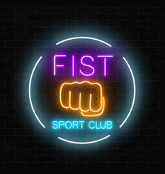 glowing neon fighting fist sport club sign in vector image