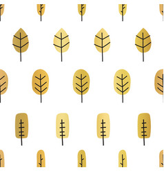 gold foil abstract tree silhouettes seamless vector image