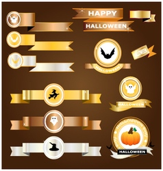 Halloween ribbon gold silver copper vector