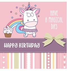 Happy birthday card with lovely baby girl unicorn vector