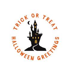 happy halloween emblem logo design holiday poster vector image