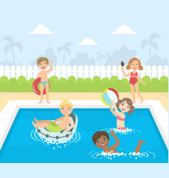 happy little boys and girls swimming and having vector image