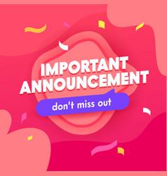 Important announcement banner social media promo vector