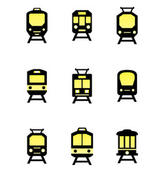 isolated train icons set vector image