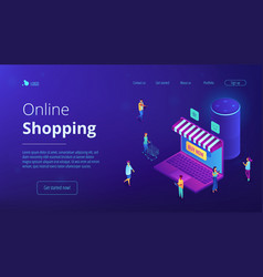 Isometric online shopping and voice assistant vector