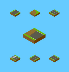 isometric way set of cracks incomplete flat and vector image