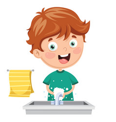 Kid washing hands vector