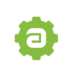 Letter a logo combined with gear vector
