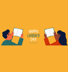 Literacy day card boy and girl reading open book vector