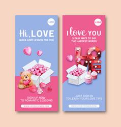 Love flyer design with bear hearts box watercolor vector