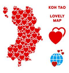 Lovely koh tao thai island map mosaic of vector