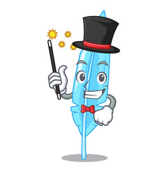 Magician feather mascot cartoon style vector