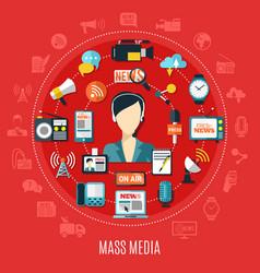 Mass media round design concept vector