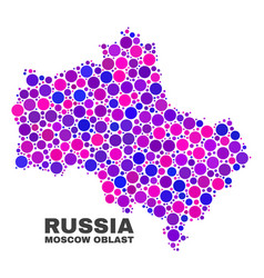 Mosaic moscow region map of circle dots vector