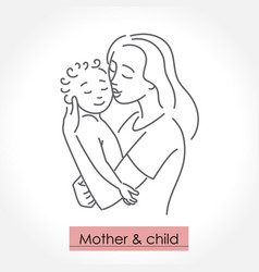 mother with child line art icon logo sign vector image