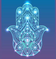 Neon of blue hamsa with boho pattern vector