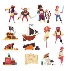 Pirate cartoon icons collection vector