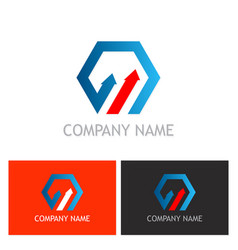 polygon arrow business logo vector image