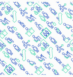 Public signs seamless pattern with thin line icons vector