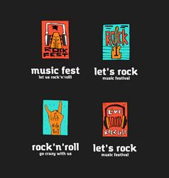 Rock festival logo set vector