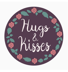 Round hugs and kisses icon vector
