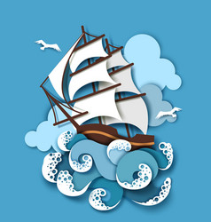 Sailboat and raging sea vector