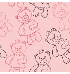seamless pattern with bears girls vector image