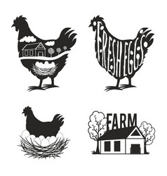 set chicken farm labels and design elements vector image
