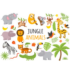 Set isolated jungle animals and tropical plants vector