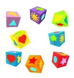 Set of 3D colorful childish play cubes vector