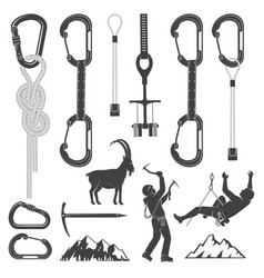 Set of alpine climbing equipment silhouette icons vector
