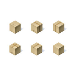 Set of six isometric cardboard boxes isolated on vector