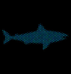 shark collage icon of halftone bubbles vector image
