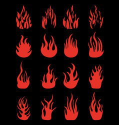 silhouettes of fire flames vector image