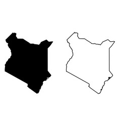 simple only sharp corners map kenya drawing vector image
