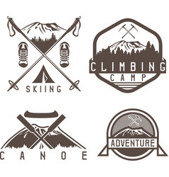 Skiing canoe and adventure camp vintage labels vector